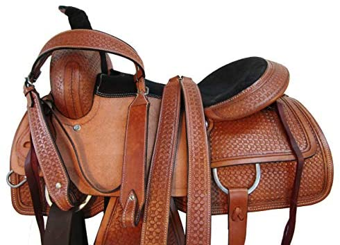 51aF2lg9mvL. AC  - Comfy Trail Saddle Pleasure Horse TACK Hand Tooled Leather Roping Roper 15 16 17