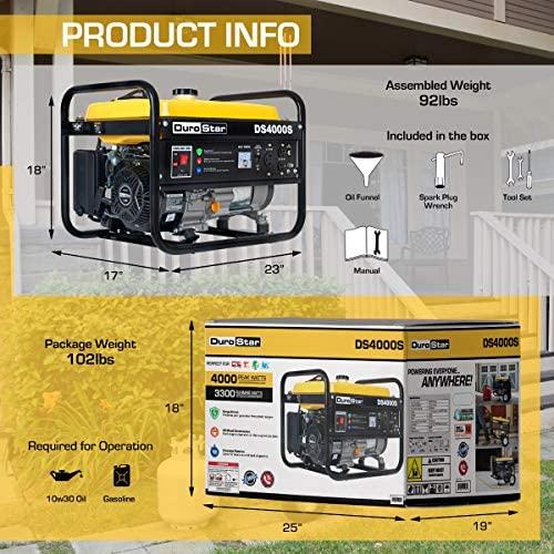 51aINFzcbkL. AC  - DuroStar DS4000S 4000 Watt Portable Recoil Start Gas Fuel Generator