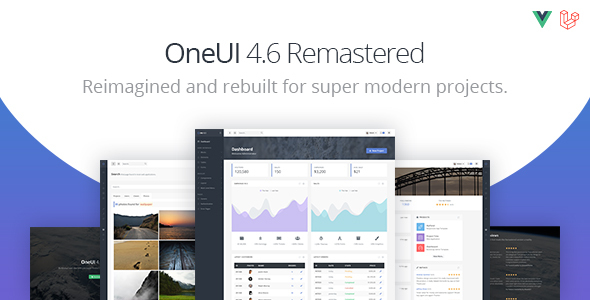 01 oneui preview.  large preview - OneUI - Bootstrap 4 Admin Dashboard Template, Vuejs & Laravel 7 Starter Kit