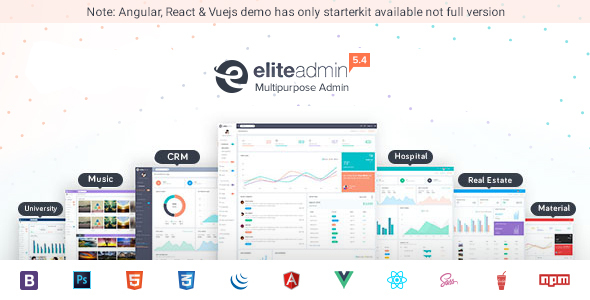 01 preview.jpg.  large preview - Elite Admin - Bootstrap 4, Angular, React & VueJs  Dashboard Template