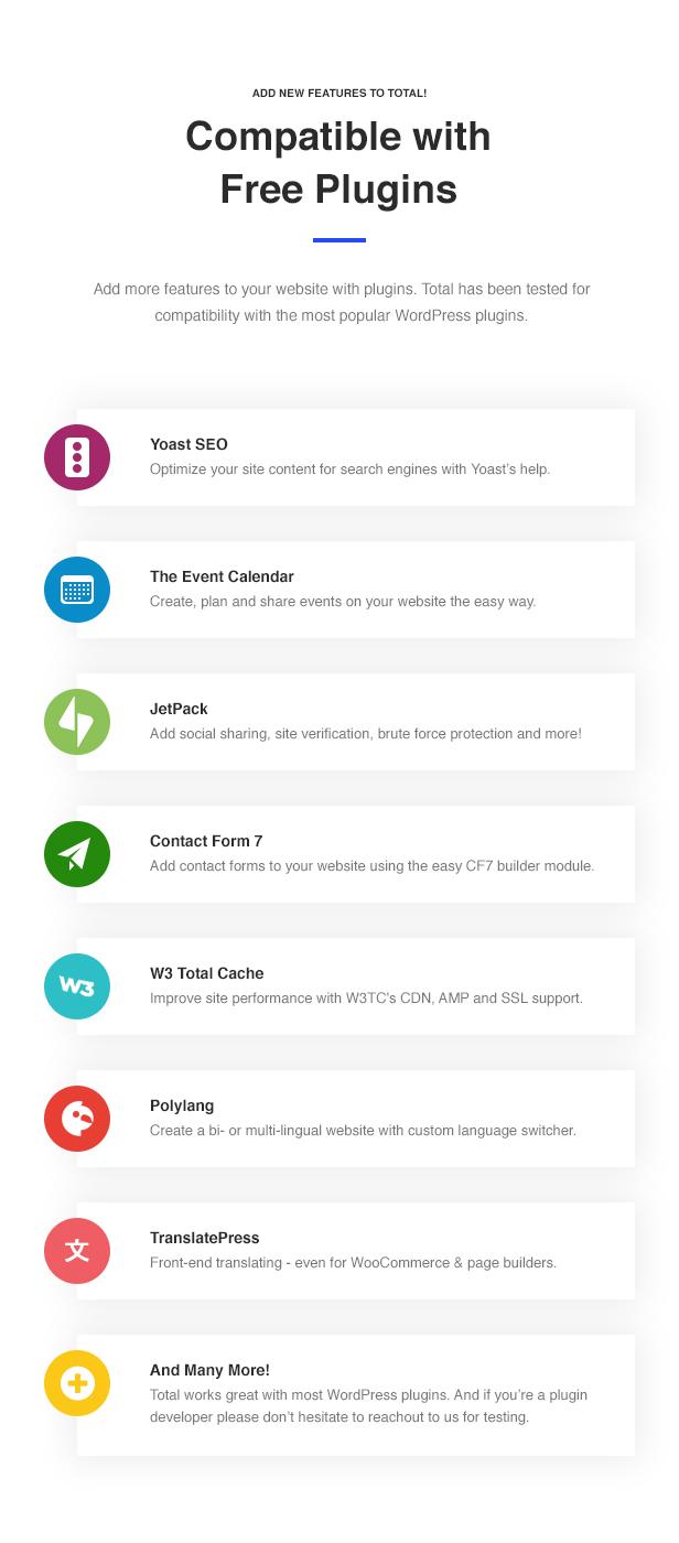 13 Total Compatible Plugins - Total - Responsive Multi-Purpose WordPress Theme