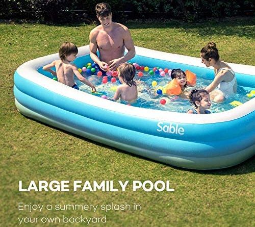 "1595682804 61t0luDPWgL. AC  500x445 - Sable Inflatable Pool, Blow Up Family Full-Sized Pool for Kids, Toddlers, Infant & Adult, 118"" X 72"" X 22"", Swim Center for Ages 3+, Outdoor, Garden, Backyard, Summer Water Party"