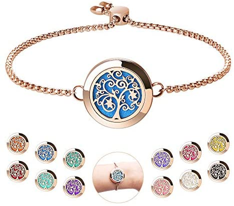 1595769372 51w3MUGWFwL. AC  - Aromatherapy Essential Oil Diffuser Bracelet - ttstar Rose Gold Stainless Steel Adjustable Women Jewelry Diffuser Bracelet with 24 Refill Pads Gift Se