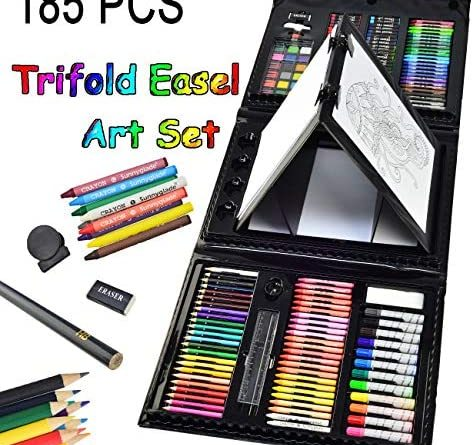 1595899832 51GZCpjcspL. AC  474x445 - Sunnyglade 185 Pieces Double Sided Trifold Easel Art Set, Drawing Art Box with Oil Pastels, Crayons, Colored Pencils, Markers, Paint Brush, Watercolor Cakes, Sketch Pad