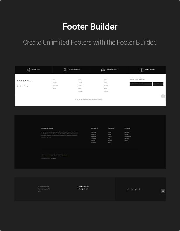 18.footer builder - KALLYAS - Creative eCommerce Multi-Purpose WordPress Theme