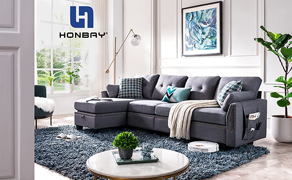 211e948b d234 4678 8046 c14d939eb9fb.  CR0,0,1455,900 PT0 SX970 V1    - HONBAY Reversible Sectional Sofa Couch for Living Room L-Shape Sofa Couch 4-seat Sofas Sectional for Apartment Dark Grey