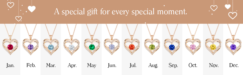 2169ff59 5b2e 4540 b8e2 2eca043d1a6c.  CR0,0,970,300 PT0 SX970 V1    - CDE Forever Love Heart Necklace 925 Sterling Silver Rose Gold Plated Birthstone Pendant Necklaces for Women with 5A Cubic Zirconia Jewelry Birthday Gift