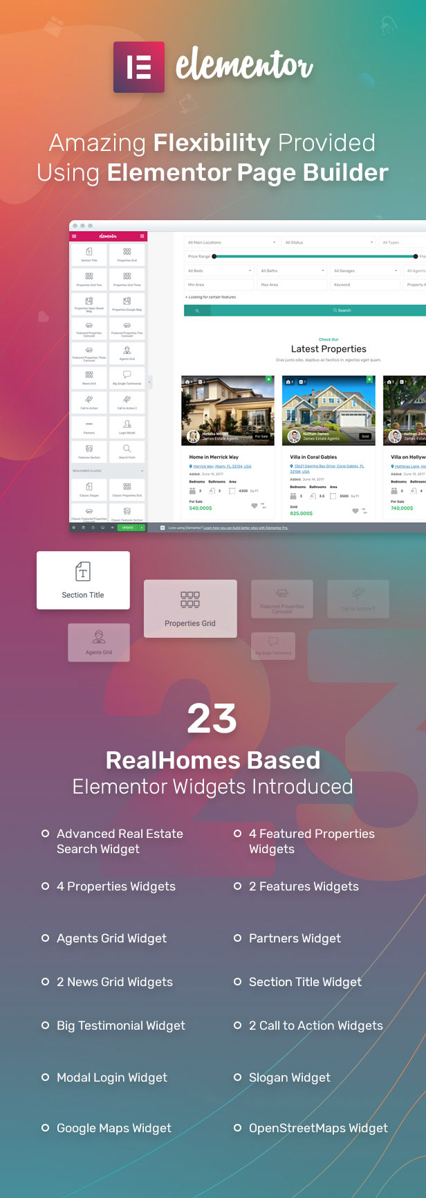 23 elementor widgets - RealHomes - Estate Sale and Rental WordPress Theme