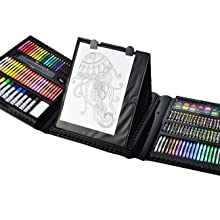 2cddf224 00a8 4965 9976 373aa1cad695.  CR0,0,1300,1300 PT0 SX220 V1    - Sunnyglade 185 Pieces Double Sided Trifold Easel Art Set, Drawing Art Box with Oil Pastels, Crayons, Colored Pencils, Markers, Paint Brush, Watercolor Cakes, Sketch Pad