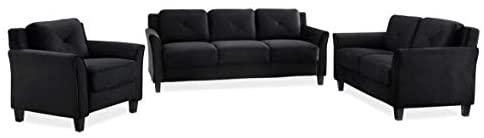 31LS6Jm5S4L. AC  - Lifestyle Solutions Collection Grayson Micro-fabric Sofa, Black