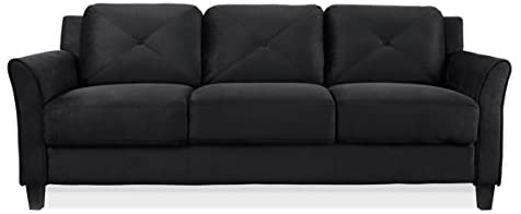 31MI5a1 EDL. AC  - Lifestyle Solutions Collection Grayson Micro-fabric Sofa, Black