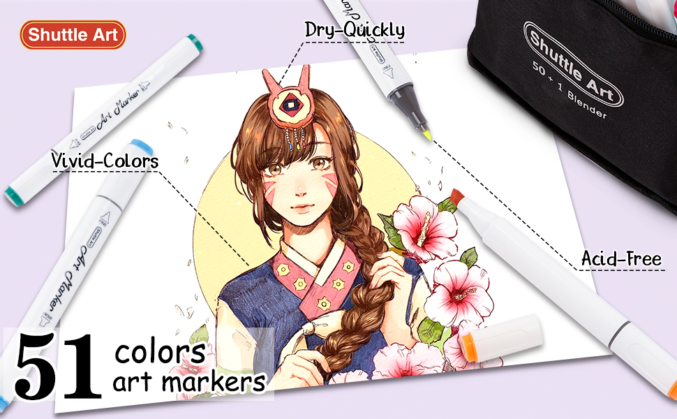 375bf1cd 090f 4c67 8092 803f00a9c9a5.  CR0,0,970,600 PT0 SX970 V1    - Shuttle Art 51 Colors Dual Tip Alcohol Based Art Markers, 50 Colors plus 1 Blender Permanent Marker Pens Highlighters with Case Perfect for Illustration Adult Coloring Sketching and Card Making