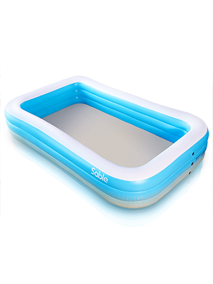 """3ab02568 fa47 4b4b 89bb 90266ffc54df.  CR0,0,300,400 PT0 SX300 V1    - Sable Inflatable Pool, Blow Up Family Full-Sized Pool for Kids, Toddlers, Infant & Adult, 118"""" X 72"""" X 22"""", Swim Center for Ages 3+, Outdoor, Garden, Backyard, Summer Water Party"""