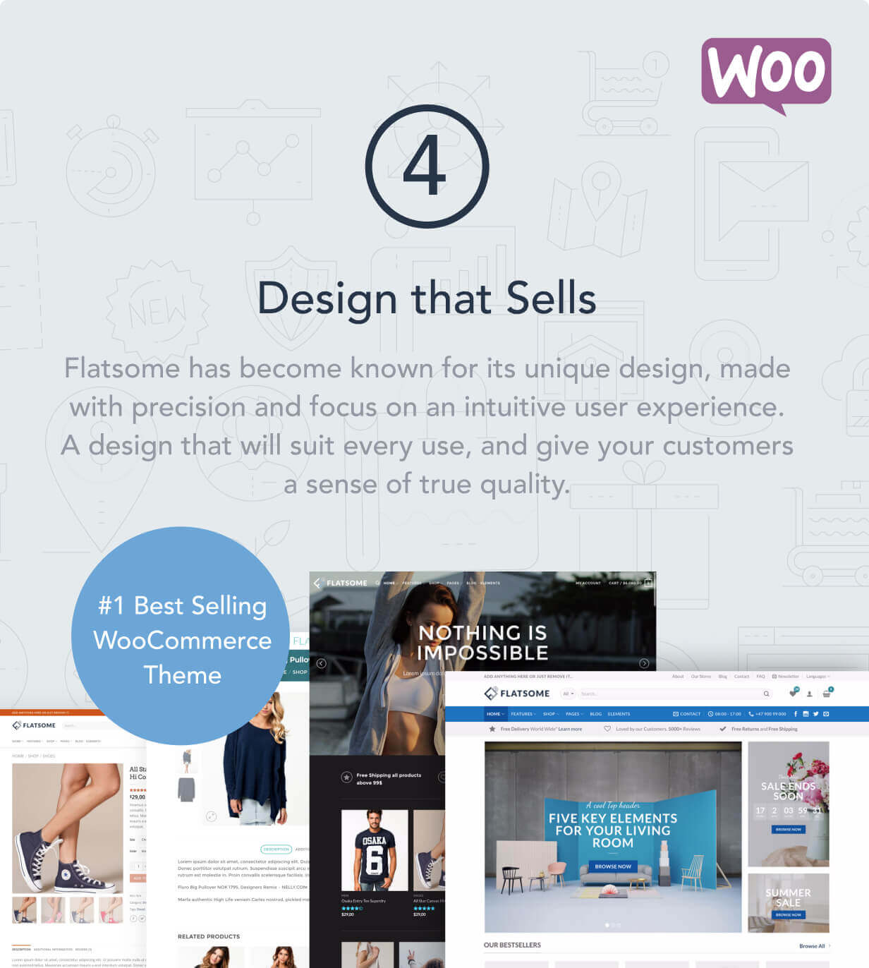 4 design that sells - Flatsome | Multi-Purpose Responsive WooCommerce Theme