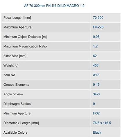 41 4C4BnkXL. AC  - Tamron Auto Focus 70-300mm f/4.0-5.6 Di LD Macro Zoom Lens with Built In Motor for Nikon Digital SLR (Model A17NII)