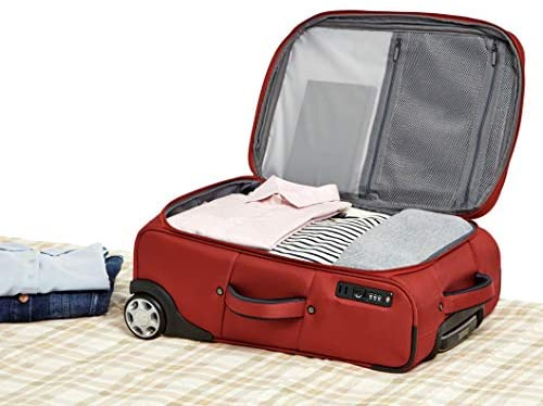 41AS+3ieFXL. AC  - AmazonBasics Upright Spinner Expandable Softside Suitcase Luggage with TSA Lock and Wheels