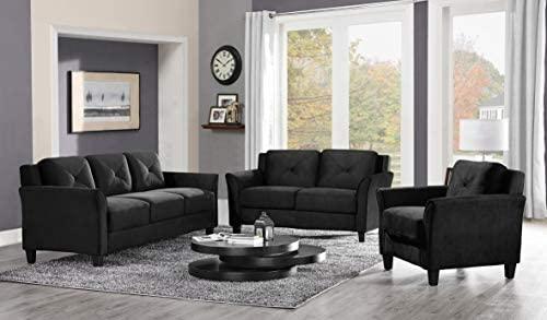 41BLLpvLDJL. AC  - Lifestyle Solutions Collection Grayson Micro-fabric Sofa, Black