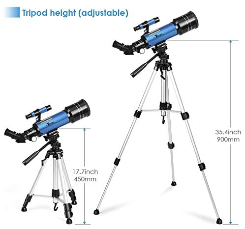 41EGHHHqE3L. AC  - TELMU Telescope, 70mm Aperture 400mm AZ Mount Astronomical Refracting Telescope Adjustable(17.7In-35.4In) Portable Travel Telescopes with Backpack, Phone Adapter