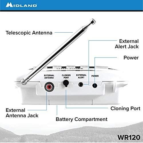 41Fu6hE6AWL. AC  - Midland - WR120B/WR120EZ - NOAA Emergency Weather Alert Radio - S.A.M.E. Localized Programming, Trilingual Display, 60+ Emergency Alerts, & Alarm Clock (WR120B - Box Packaging)