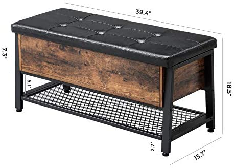 41GaXpByWOL. AC  - VASAGLE Industrial Storage Bench, Shoe Bench with Padded Seat and Metal Shelf, Multifunctional Seat Chest, Hallway Living Room, Sturdy Metal Frame ULSB47BX
