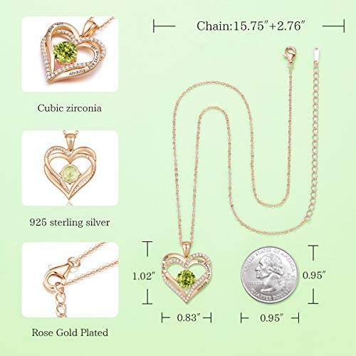 41KMlHocnfL. AC  - CDE Forever Love Heart Necklace 925 Sterling Silver Rose Gold Plated Birthstone Pendant Necklaces for Women with 5A Cubic Zirconia Jewelry Birthday Gift
