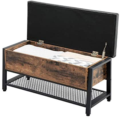 41LmQkmos2L. AC  - VASAGLE Industrial Storage Bench, Shoe Bench with Padded Seat and Metal Shelf, Multifunctional Seat Chest, Hallway Living Room, Sturdy Metal Frame ULSB47BX
