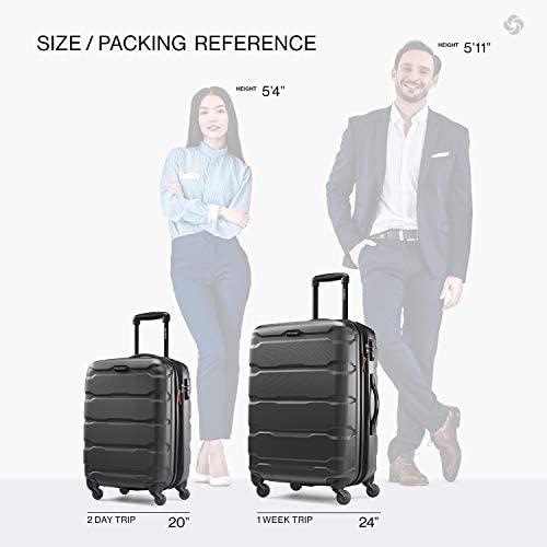 41QsSHkut9L. AC  - Samsonite Omni PC Hardside Expandable Luggage with Spinner Wheels, Black, 2-Piece Set (20/24)