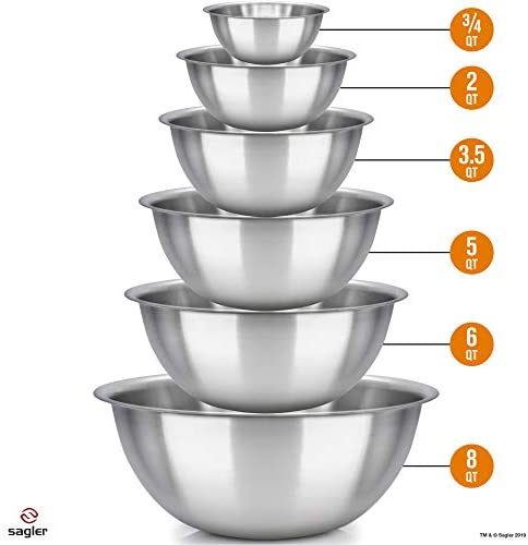 41SkcnRHs3L. AC  - mixing bowls - mixing bowl Set of 6 - stainless steel mixing bowls - Polished Mirror kitchen bowls - Set Includes ¾, 2, 3.5, 5, 6, 8 Quart - Ideal For Cooking & Serving - Easy to clean - Great gift