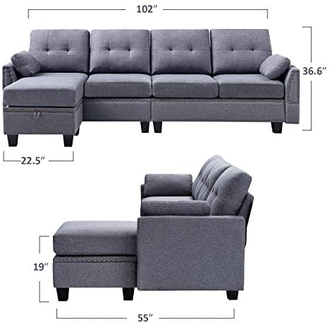 41TUZGI1VUL. AC  - HONBAY Reversible Sectional Sofa Couch for Living Room L-Shape Sofa Couch 4-seat Sofas Sectional for Apartment Dark Grey