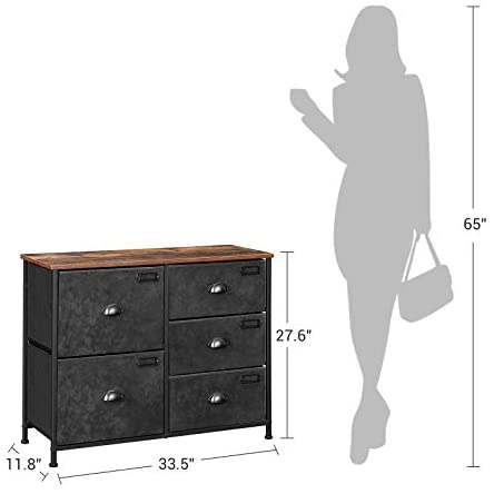 41WGky16kXL. AC  - SONGMICS Wide Dresser, Fabric Drawer Dresser with 5 Drawers, Industrial Closet Storage Drawers with Metal Frame, Wooden Top, Closet Organizer for Hallway, Nursery, Rustic Brown and Black ULVT05H