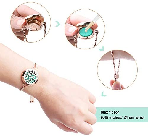 41XtIwJKoGL. AC  - Aromatherapy Essential Oil Diffuser Bracelet - ttstar Rose Gold Stainless Steel Adjustable Women Jewelry Diffuser Bracelet with 24 Refill Pads Gift Se