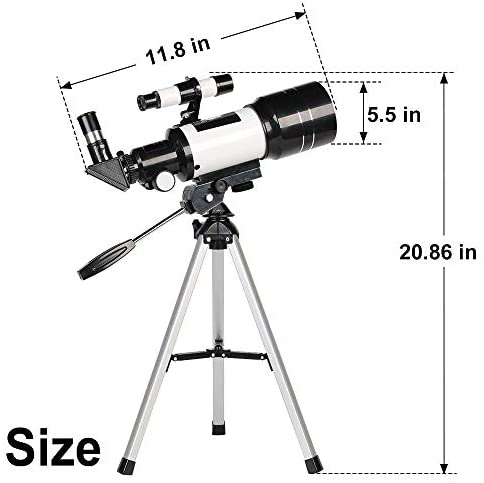 41da1S4M3xL. AC  - ToyerBee Telescope for Kids& Beginners, 70mm Aperture 300mm Astronomical Refractor Telescope, Tripod& Finder Scope- Portable Travel Telescope with Smartphone Adapter and Wireless Remote