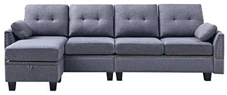 41flpBTp4fL. AC  - HONBAY Reversible Sectional Sofa Couch for Living Room L-Shape Sofa Couch 4-seat Sofas Sectional for Apartment Dark Grey