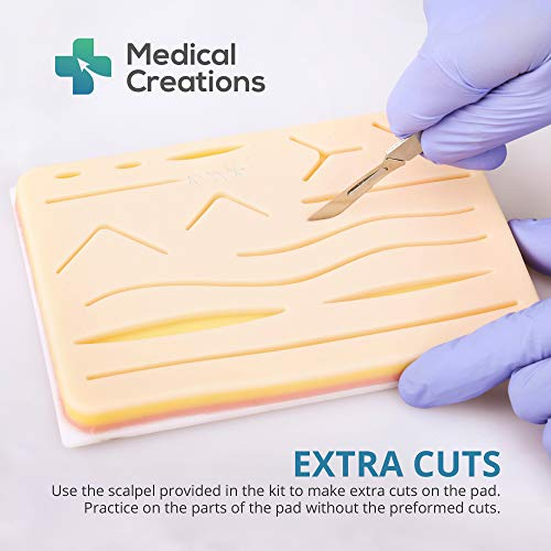 41heEBvzdoL - Suture Practice Kit by Medical Creations - with Suturing Video Series by Board-Certified Surgeon and Ebook Training Guide - Silicone Suturing Pad with Tool Kit - for any Student in the Medical Field