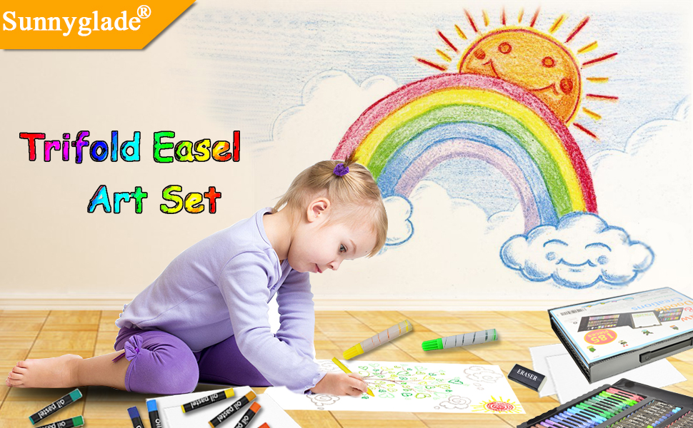 48f1cdf5 4c1b 4223 8fc1 2531615cdcdb.  CR0,0,970,600 PT0 SX970 V1    - Sunnyglade 185 Pieces Double Sided Trifold Easel Art Set, Drawing Art Box with Oil Pastels, Crayons, Colored Pencils, Markers, Paint Brush, Watercolor Cakes, Sketch Pad