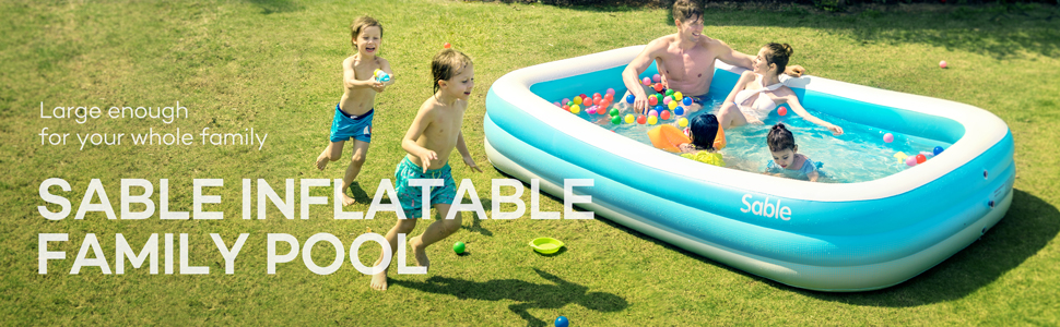 """4c399683 eba6 494b 95e4 19adaab755ad.  CR0,0,970,300 PT0 SX970 V1    - Sable Inflatable Pool, Blow Up Family Full-Sized Pool for Kids, Toddlers, Infant & Adult, 118"""" X 72"""" X 22"""", Swim Center for Ages 3+, Outdoor, Garden, Backyard, Summer Water Party"""