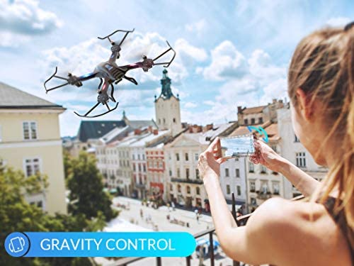 51 J7ZKYweL. AC  - SNAPTAIN S5C WiFi FPV Drone with 720P HD Camera,Voice Control, Wide-Angle Live Video RC Quadcopter with Altitude Hold, Gravity Sensor Function, RTF One Key Take Off/Landing, Compatible w/VR Headset