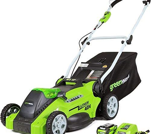 51 NZJmZtVL. AC  500x445 - Greenworks G-MAX 40V 16'' Cordless Lawn Mower with 4Ah Battery - 25322 model