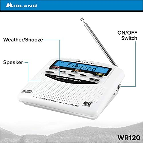 512Klk9F3eL. AC  - Midland - WR120B/WR120EZ - NOAA Emergency Weather Alert Radio - S.A.M.E. Localized Programming, Trilingual Display, 60+ Emergency Alerts, & Alarm Clock (WR120B - Box Packaging)