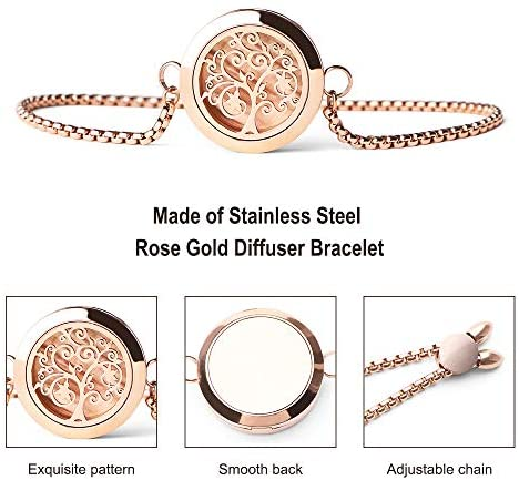 512S8jDsV+L. AC  - Aromatherapy Essential Oil Diffuser Bracelet - ttstar Rose Gold Stainless Steel Adjustable Women Jewelry Diffuser Bracelet with 24 Refill Pads Gift Se