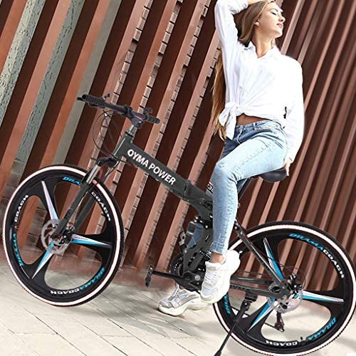 515cf TNbiL. AC  - Outroad Mountain Bike 21 Speed 6 Spoke 26 in Shining SYS Double Disc Brake Bicycle Folding Bike for Adult Teens (Ship from US) (Black)