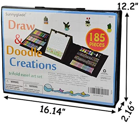 516tVUXUkqL. AC  - Sunnyglade 185 Pieces Double Sided Trifold Easel Art Set, Drawing Art Box with Oil Pastels, Crayons, Colored Pencils, Markers, Paint Brush, Watercolor Cakes, Sketch Pad