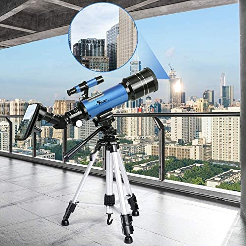 5180Z7P0MRL. AC  - TELMU Telescope, 70mm Aperture 400mm AZ Mount Astronomical Refracting Telescope Adjustable(17.7In-35.4In) Portable Travel Telescopes with Backpack, Phone Adapter