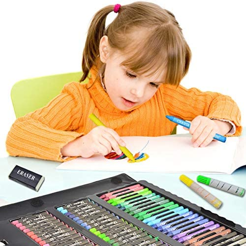 518CeJ2YViL. AC  - Sunnyglade 185 Pieces Double Sided Trifold Easel Art Set, Drawing Art Box with Oil Pastels, Crayons, Colored Pencils, Markers, Paint Brush, Watercolor Cakes, Sketch Pad