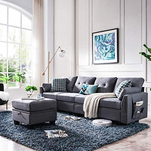518xWCjN3LL. AC  - HONBAY Reversible Sectional Sofa Couch for Living Room L-Shape Sofa Couch 4-seat Sofas Sectional for Apartment Dark Grey