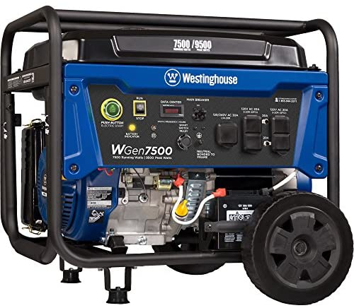 51BpPtopJAL. AC  - Westinghouse WGen7500 Portable Generator with Remote Electric Start - 7500 Rated Watts & 9500 Peak Watts - Gas Powered - CARB Compliant - Transfer Switch Ready