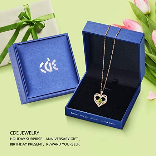 51D0lhtu1rL. AC  - CDE Forever Love Heart Necklace 925 Sterling Silver Rose Gold Plated Birthstone Pendant Necklaces for Women with 5A Cubic Zirconia Jewelry Birthday Gift