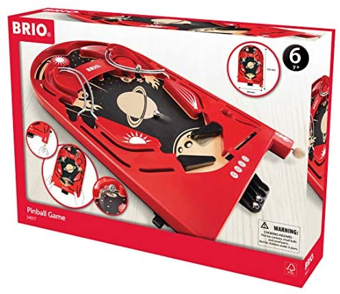 51DzC5y6YxL. AC  - BRIO 34017 Pinball Game | A Classic Vintage, Arcade Style Tabletop Game for Kids and Adults Ages 6 and Up,Red