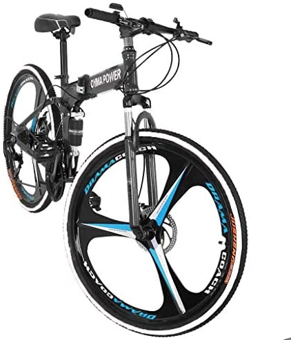 51E4PQ3xqAL. AC  - Outroad Mountain Bike 21 Speed 6 Spoke 26 in Shining SYS Double Disc Brake Bicycle Folding Bike for Adult Teens (Ship from US) (Black)