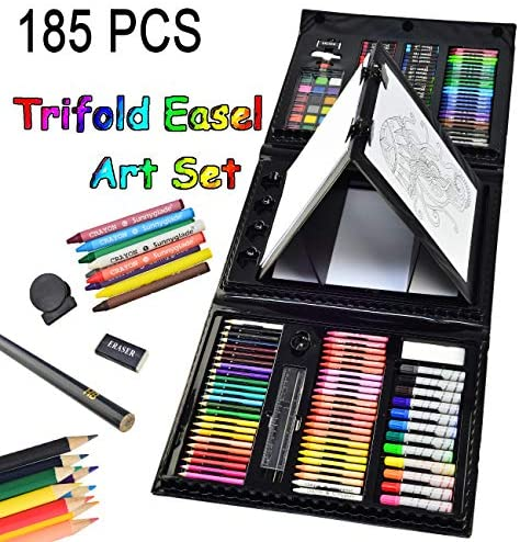 51GZCpjcspL. AC  - Sunnyglade 185 Pieces Double Sided Trifold Easel Art Set, Drawing Art Box with Oil Pastels, Crayons, Colored Pencils, Markers, Paint Brush, Watercolor Cakes, Sketch Pad